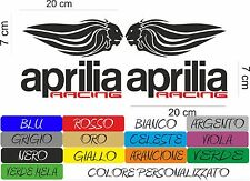 4 ADESIVI APRILIA RACING 20X7 CM  MOTO STICKERS INTAGLIATO IN VARI COLORI COD35