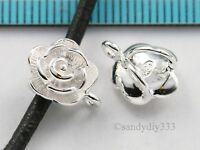1x BRIGHT STERLING SILVER FLOWER SLIDE PENDANT BAIL CONNECTOR #1635