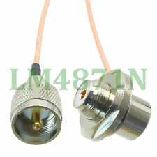 "cable PL259 UHF  male to SO239 UHF female 5/8"" bulkhead 90° for radio RG316 16FT"