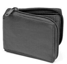 New Mens Bifold Zipper Around Genuine Leather Wallet Pockets Black Coins Pouch