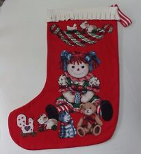 NEW Raggedy Ann Holiday Fabric Panel Christmas Stocking Handmade