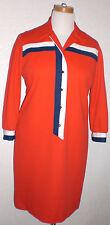1947-1964 Rare Vintage Jo Lester Mod Shift Polyester Red White BlueDress M