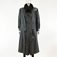 Black Fabric Coat with Fox Fur Trim and Rabbit Fur Removable Lining - Size S