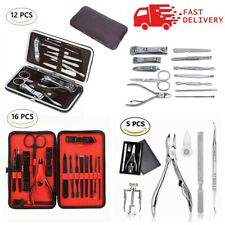 Manicure Pedicure Set Finger Toe Nail Clippers Scissors Grooming Kit / Gift Case
