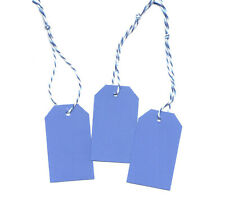 100 Blank Cornflower Blue Price Tags w/Strings Medium gift tag 1-1/2 x 2-1/4 in