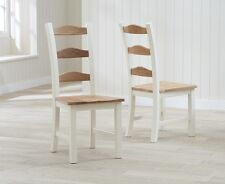 Banbury Painted Cream and Oak Wooden Furniture Set of 2 Dining Chairs (PAIR)