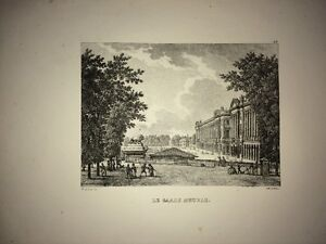 PARIS ( PLACE DE LA CONCORDE : LE GARDE MEUBLE). LITHOGRAPHIE XIXe.