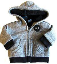 New Koala Kik Newborn Skulls Hooded Jacket Boys Heathered Gray Fleece Lined