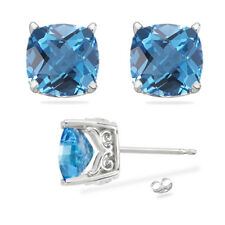 Cushion 4.00 Ct Natural Blue Topaz Gemstone Earrings Solid 14K White Gold Stud