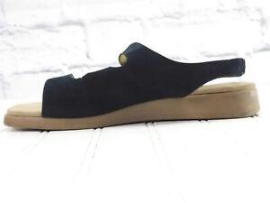 ROCKPORT Women's Slingback Triple Strap Black Leather Slip On Sandals US 7.5W