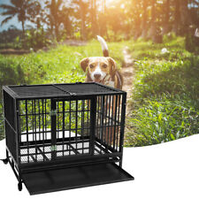 """36"""" Heavy Duty Dog Cage Crate Kennel Metal Pet Playpen Portable with Tray B"""