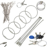 "Wholesale lot 20-100 pcs 6"" Stainless Steel Wire Keychain Cables Key Ring Hiking"