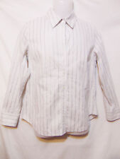 CHICOS Size 1/Womens Small Button Down Shirt/Blouse Vertical Striped Long Sleeve