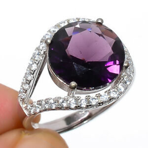 Amethyst & Cz Gemstone 925 Sterling Silver Jewelry Ring s.Ad S2640