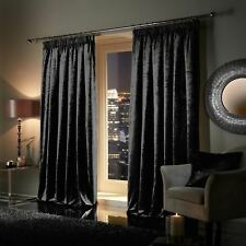BLACK Plush Crushed Velour Faux Velvet Pencil Pleat / Eyelet Ring Top Curtains