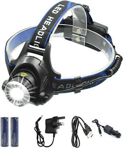Waterproof USB Rechargeable Battery LED Zoomable Head Light Torch Lamp Fish UK