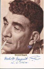 "Egypt President Muhammad Naguib 1901-84 autograph signed 3.5""x5.5"" card w. photo"