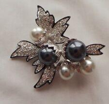 with Clear Crystals & Sim. Pearls Kenneth Lane Kjl Silver Tone Leaf Pin