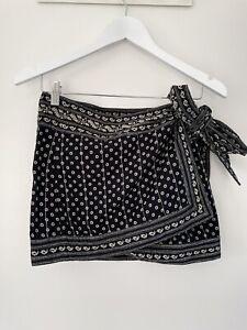 Isabel Marant Etoile Cotton Side Tie Mini Skirt Paisley Black Print Size FR38