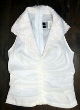 5ee791bdd7fc51 TADASHI for NEIMAN MARCUS    Beaded Collar StretchTaffeta Ruched Ivory Top 4