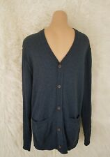 Aeropostale Mens Size Medium Knit Cardigan Vneck Button Down Sweater Navy Blue G
