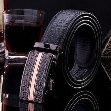 Mens Genuine Leather Belt Crocodile Metal Buckle Belt Automatic Waist Strap Belt