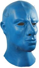 BLUE LATEX HOOD THICK HEAVY RUBBER MASK MALE MASCULINE BLUE MAN ANATOMICAL MALE
