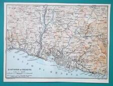 1931 BAEDEKER MAP - Italy GENOA GENOVA & Environs + Railroads