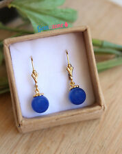 Natural Blue Agate Ball Beads Dangle Drop Genuine Gemstone Gold Filled Earrings