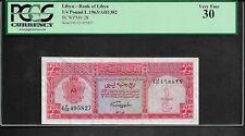 Libya p-28, VF, 1/4 Pound, 1963, PCGS Graded 30