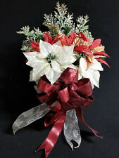 Fall Winter Christmas Holiday Hanging Basket of Poinsettias Red ribbon Floral