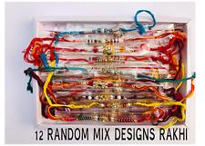 12 x Rakhi Thread Bracelet Multicolour Bead Raksha Bandhan Rakhi Wrist Band