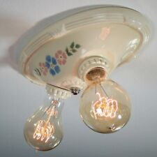 Vintage Porcelier Brand Porcelain Flush Mount Ceiling Light