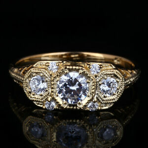 Sterling Silver 925 Plate Yellow Gold Cubic Zirconia Wedding 3-Stones Ring Round