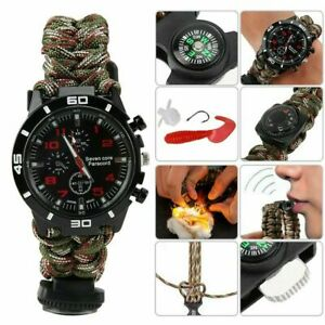 Multifunction Camouflage Watch Whistle Paracord Compass Bracelet Outdoor Survive