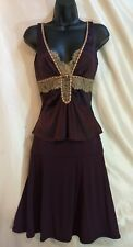 Roberto Cavalli Womens Skirt Top 2 piece Stretch Suit Purple Lace 38 Top 40