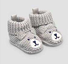 Baby boy knitted bear newborn Gray slipper Socks