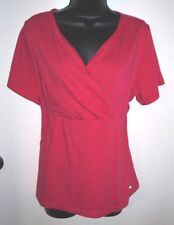 Curves Size Large Womens Pink Short Sleeve Crossover Top