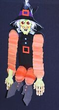 Halloween Decoration Witch w/Crepe Paper Arms/Legs Red Jewel Eyes vtg Beistle?