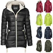 Warmer Damen Stepp Winter Mantel lang Jacke Parka Steppmantel Kapuze Zipper