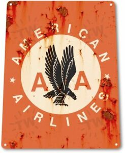 American Airlines AA Logo Jet Airplane Retro Vintage Wall Decor Metal Tin Sign