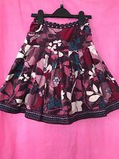 Used Girls Purple Pink Fancy Floral Velvet Skirt Monsoon Age 7-8 Years Sequin