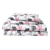 Cat Twin Full or Queen Sheet Set Microfiber Kitten Pet Lover Bedding, Pink Grey