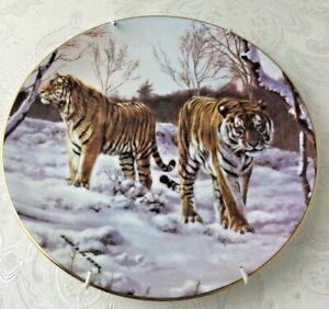 Royal Doulton Snow Tigers Decorative Display Plate With Hanger No Box V407