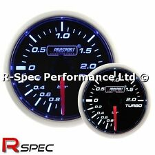 * NEW MECHANICAL * 52mm Prosport Super Blue / White Turbo Boost Gauge Kit - BAR