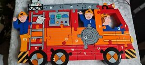 Chunky Wooden Jigsaw Puzzle Alphabet Fire Engine Truck Vehicle in a bag
