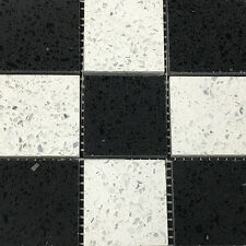 Black and White Sparkling Quartz Mosaic Wall & Floor Tiles - SAMPLE