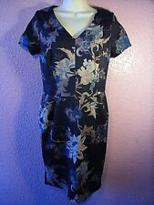 George Black Floral Calf Length Dress.V Neck.Cap Sleeve.Polyester Stretch.UK 10
