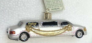 Old World Christmas WHITE WEDDING GOLD GLITTER HEART JUST MARRIED LIMO LIMOUSINE