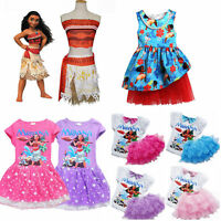 Moana Disney Costume Girls Princess Fancy Cosplay Dress Kid Children Outfits Set